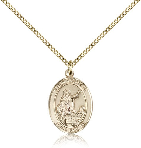 St. Colette Medal, Gold Filled, Medium - Gold-tone