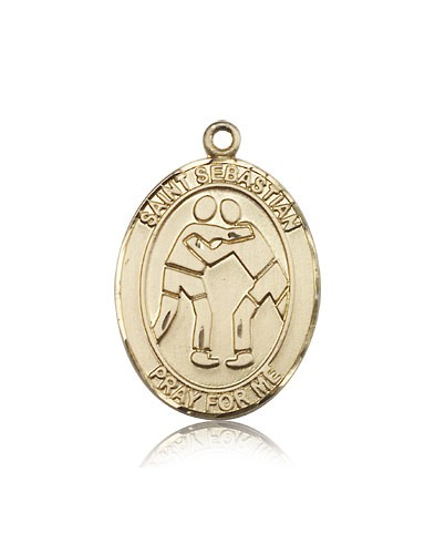 St. Sebastian Wrestling Medal, 14 Karat Gold, Large - 14 KT Yellow Gold