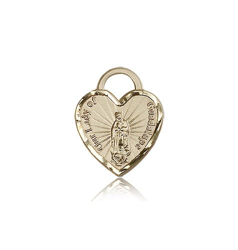 Our Lady of Guadalupe Heart Medal, 14 Karat Gold - 14 KT Yellow Gold