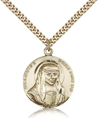 "St. Louise Medal, Gold Filled - 24"" 2.4mm Gold Plated Endless Chain"
