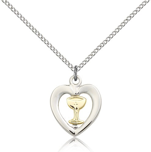 "Chalice Heart Medal, Two-Tone - 18"" 1.2mm Sterling Silver Chain + Clasp"