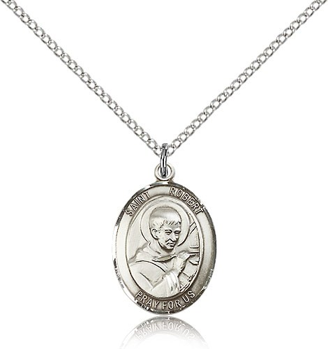 "St. Robert Bellarmine Medal, Sterling Silver, Medium - 18"" 1.2mm Sterling Silver Chain + Clasp"