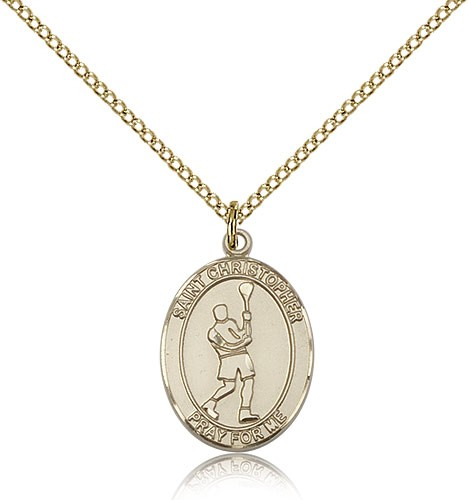 St. Christopher Lacrosse Medal, Gold Filled, Medium - Gold-tone