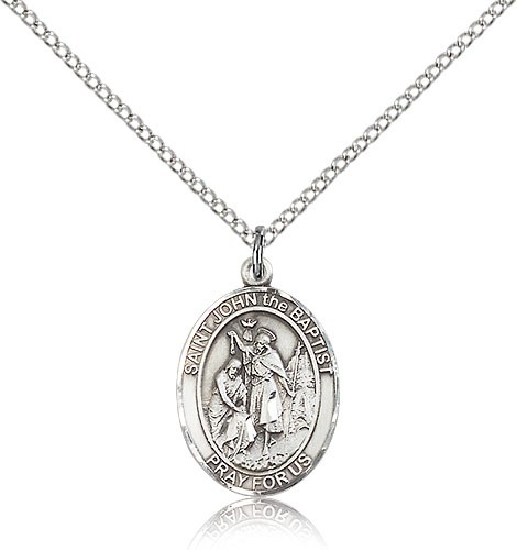 "St. John the Baptist Medal, Sterling Silver, Medium - 18"" 1.2mm Sterling Silver Chain + Clasp"