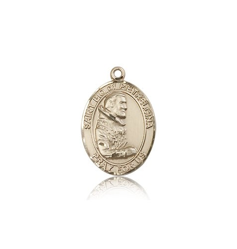 St. Pio of Pietrelcina Medal, 14 Karat Gold, Medium - 14 KT Yellow Gold