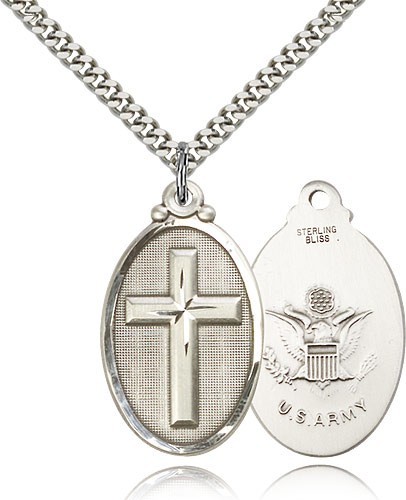 "Army Cross Pendant, Sterling Silver - 24"" 2.4mm Rhodium Plate Endless Chain"