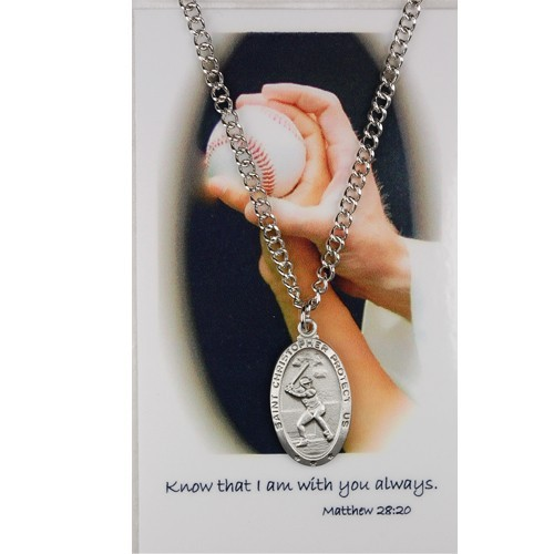 Boys St. Christopher Baseball Medal and Prayer Card Set - Silver-tone