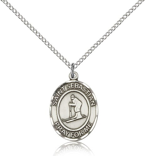 "St. Sebastian Skiing Medal, Sterling Silver, Medium - 18"" 1.2mm Sterling Silver Chain + Clasp"
