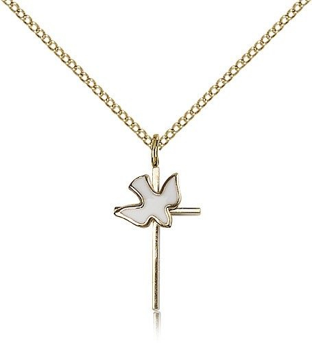 Holy Sprit Cross Pendant, Gold Filled - Gold-tone