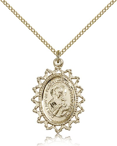 Our Lady of Perpetual Help Medal, Gold Filled - Gold-tone