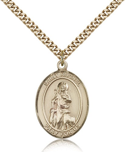 "St. Rachel Medal, Gold Filled, Large - 24"" 2.4mm Gold Plated Chain + Clasp"