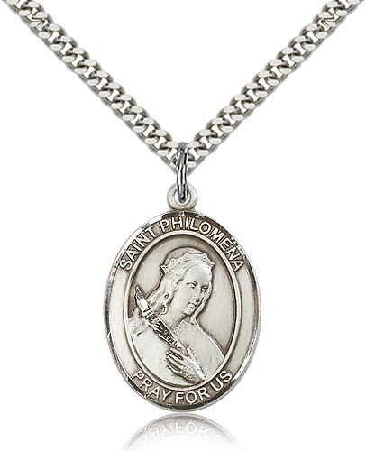 "St. Philomena Medal, Sterling Silver, Large - 24"" 2.4mm Rhodium Plate Chain + Clasp"