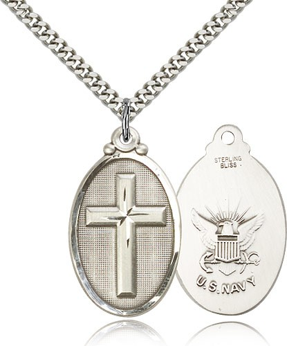 "Navy Cross Pendant, Sterling Silver - 24"" 2.4mm Rhodium Plate Endless Chain"