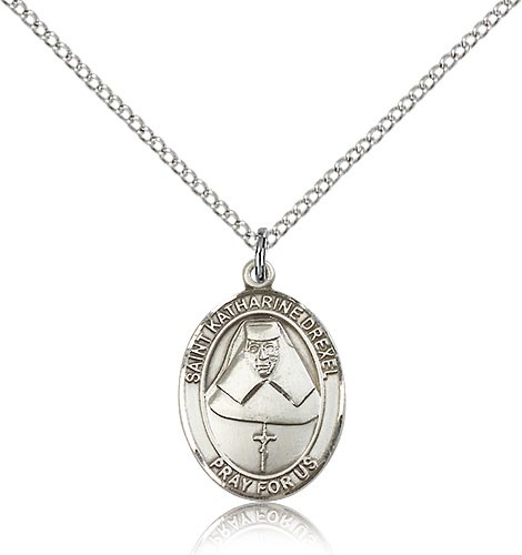 "St. Katharine Drexel Medal, Sterling Silver, Medium - 18"" 1.2mm Sterling Silver Chain + Clasp"
