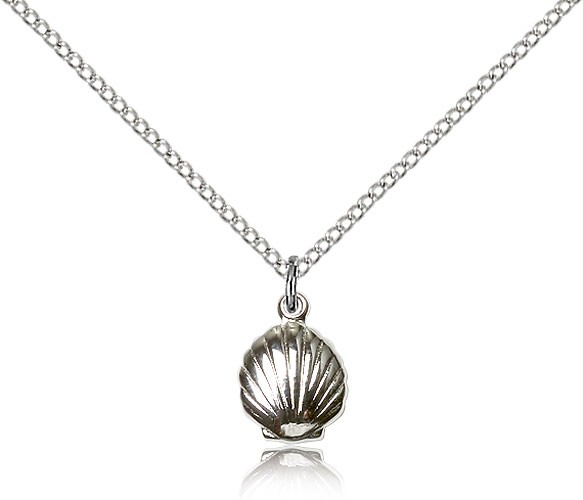 "Shell Medal, Sterling Silver - 18"" 1.2mm Sterling Silver Chain + Clasp"