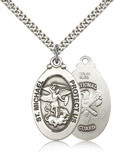 "St. Michael National Guard Medal, Sterling Silver - 24"" 2.4mm Rhodium Plate Endless Chain"