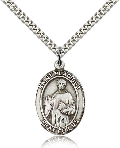 "St. Placidus Medal, Sterling Silver, Large - 24"" 2.4mm Rhodium Plate Chain + Clasp"