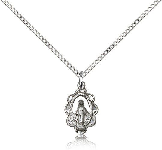 "Miraculous Medal, Sterling Silver - 18"" 1.2mm Sterling Silver Chain + Clasp"