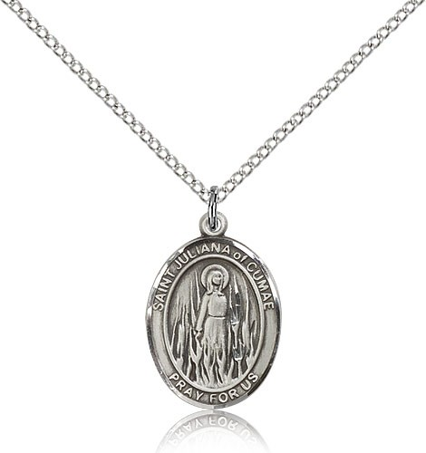 "St. Juliana Medal, Sterling Silver, Medium - 18"" 1.2mm Sterling Silver Chain + Clasp"