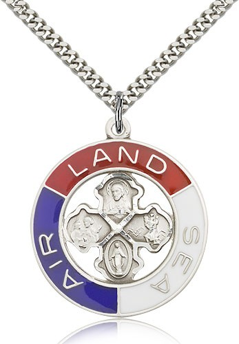"Land, Sea, Air Medal, Sterling Silver - 24"" 2.4mm Rhodium Plate Endless Chain"