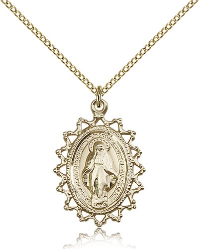Miraculous Medal, Gold Filled - Gold-tone