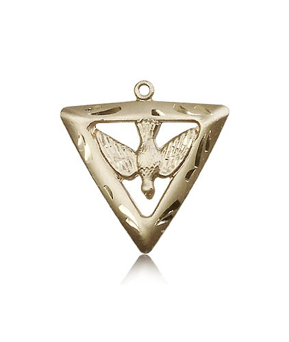 Holy Spirit Triangle Medal, 14 Karat Gold - 14 KT Yellow Gold