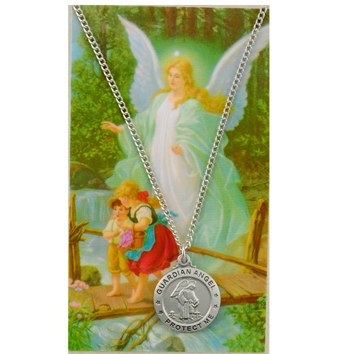 Round Guardian Angel  Medal and Prayer Card Set - Silver-tone