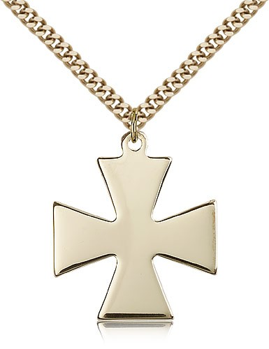 "Surfer Cross Pendant, Gold Filled - 24"" 2.4mm Gold Plated Endless Chain"