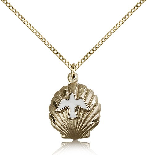 Shell Holy Spirit Medal, Gold Filled - Gold-tone