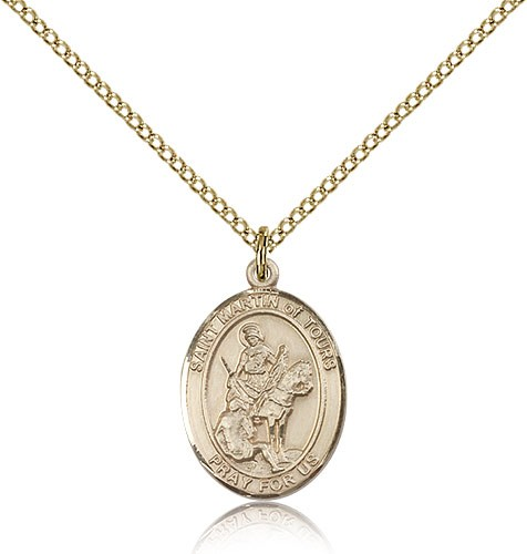 St. Martin of Tours Medal, Gold Filled, Medium - Gold-tone