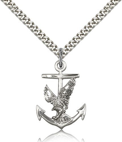 "Anchor Eagle Medal, Sterling Silver - 24"" 2.4mm Rhodium Plate Endless Chain"