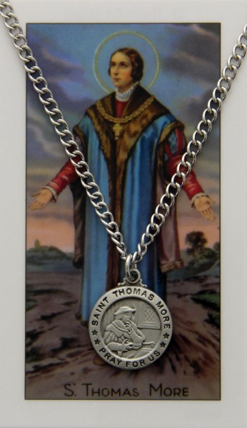 Round St. Thomas More Medal and Prayer Card Set - Silver-tone