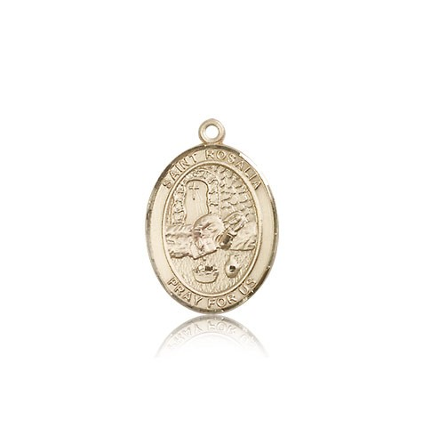 St. Rosalia Medal, 14 Karat Gold, Medium - 14 KT Yellow Gold