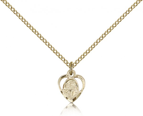 "Women's Heart Shaped 14kt Gold Filled St. Anthony of Padua Pendant - 18"" 1.2mm 14kt Gold Filled Chain + Clasp"