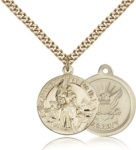"St. Joan of Arc Navy Medal, Gold Filled - 24"" 2.4mm Gold Plated Endless Chain"