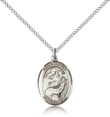 "St. Jason Medal, Sterling Silver, Medium - 18"" 1.2mm Sterling Silver Chain + Clasp"