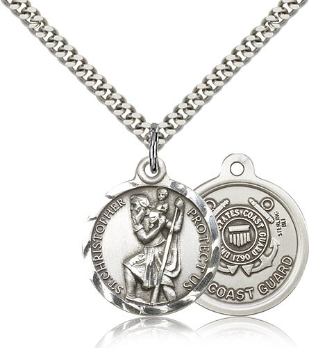 "St. Christopher Coast Guard Medal, Sterling Silver - 24"" 2.4mm Rhodium Plate Endless Chain"
