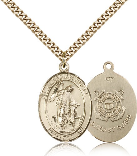 Guardian Angel Coast Guard Medal, Gold Filled, Large - Gold-tone