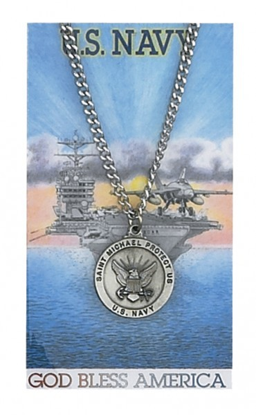 Round St. Michael Navy Medal and Prayer Card Set - Silver-tone