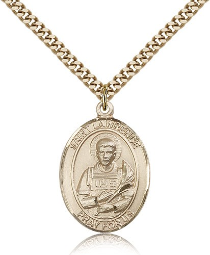 "St. Lawrence Medal, Gold Filled, Large - 24"" 2.4mm Gold Plated Chain + Clasp"