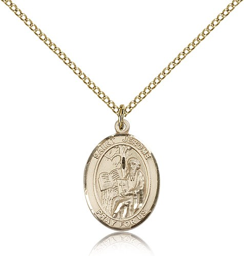 St. Jerome Medal, Gold Filled, Medium - Gold-tone