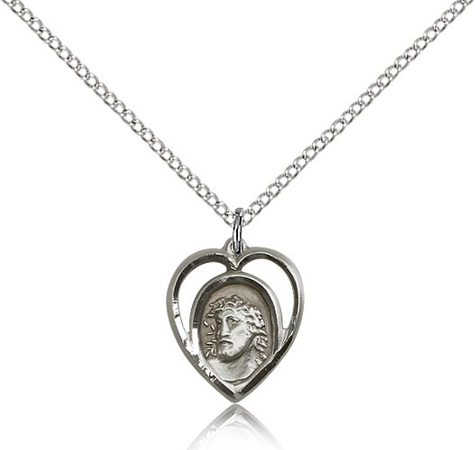 "Ecce Homo Medal, Sterling Silver - 18"" 1.2mm Sterling Silver Chain + Clasp"