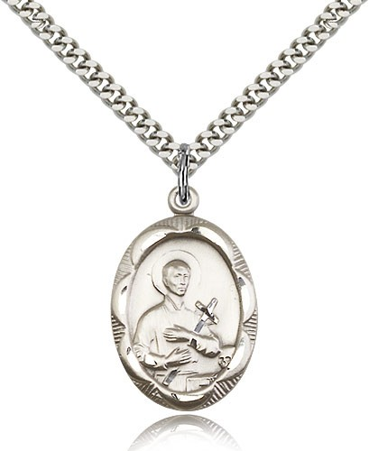 "St. Gerard Medal, Sterling Silver - 24"" 2.4mm Rhodium Plate Endless Chain"