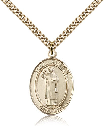 "St. Stephen the Martyr Medal, Gold Filled, Large - 24"" 2.4mm Gold Plated Chain + Clasp"