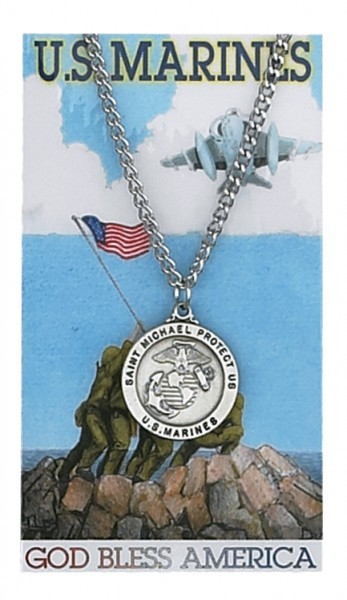 Round St. Michael Marines Medal and Prayer Card Set - Silver-tone