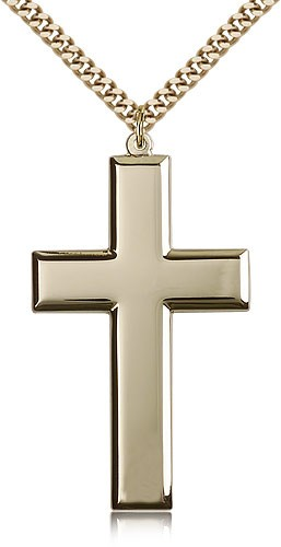 "Cross Pendant, Gold Filled - 24"" 2.4mm Gold Plated Endless Chain"