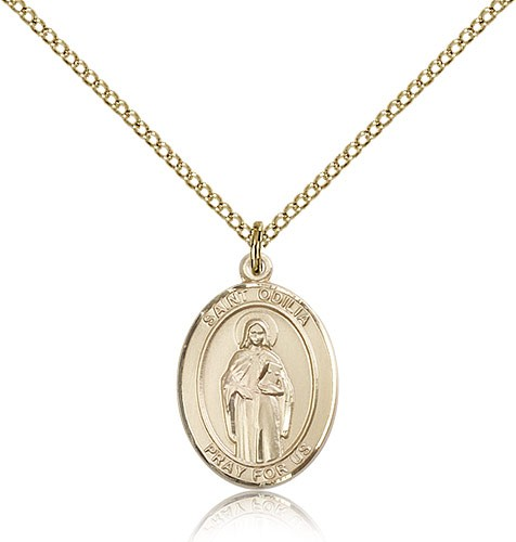 St. Odilia Medal, Gold Filled, Medium - Gold-tone