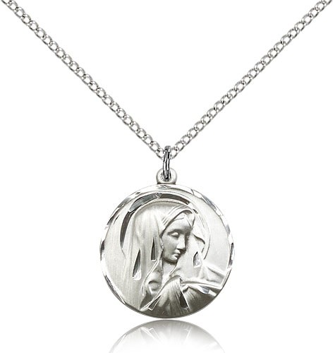 "Sorrowful Mother Medal, Sterling Silver - 18"" 1.2mm Sterling Silver Chain + Clasp"