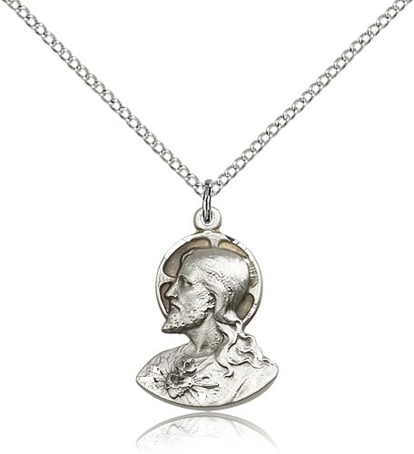 "Head of Christ Medal, Sterling Silver - 18"" 1.2mm Sterling Silver Chain + Clasp"