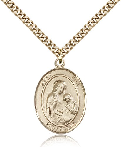 "St. Ann Medal, Gold Filled, Large - 24"" 2.4mm Gold Plated Chain + Clasp"